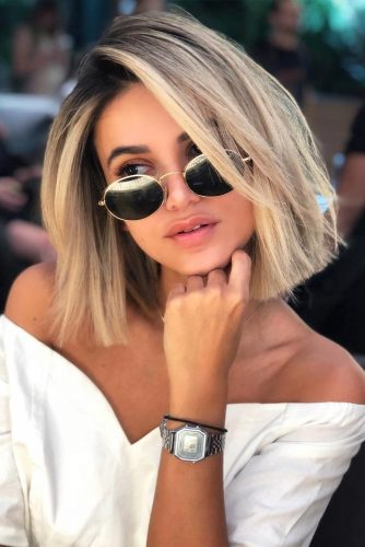 Lob Straight Hairstyles Blonde Color