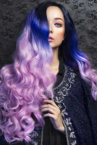 Black, Blue To Viola Ombre