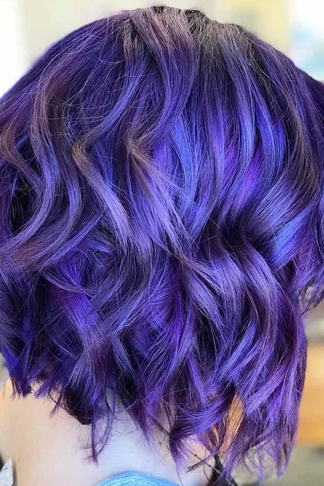 Blue Velvet And Purple Wavy Bob