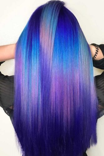 Electric Blue Hair With Plum Spots