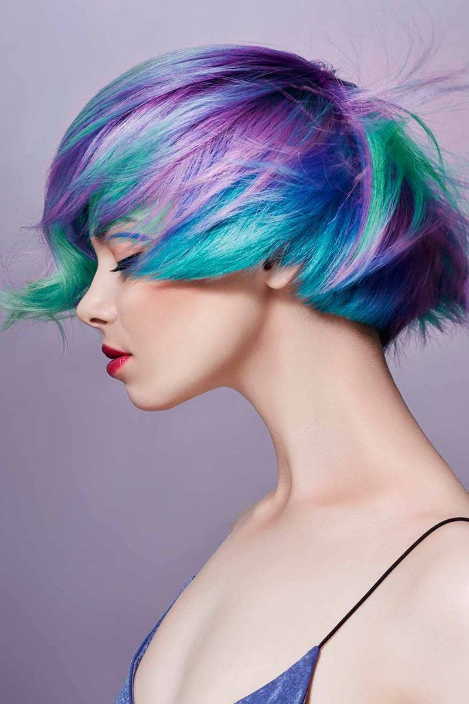 Cool Purple Ombre Shades With Green Highlihgts