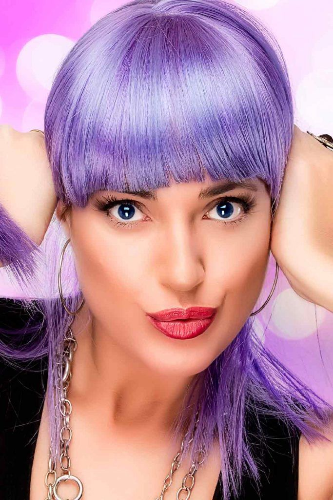Cute Purple Hair Looks With Bang