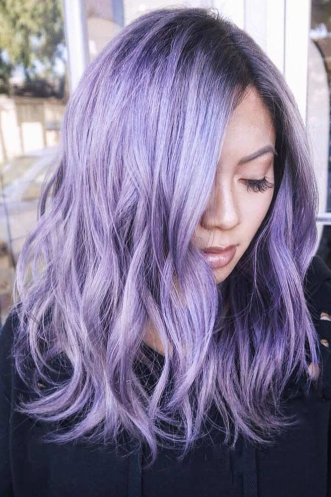 Lavender Purple Hair Color Black Roots #mediumhair #wavyhair