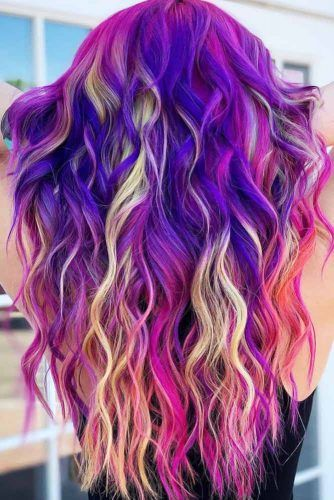 Purple With Yellow Streaks #purplehair