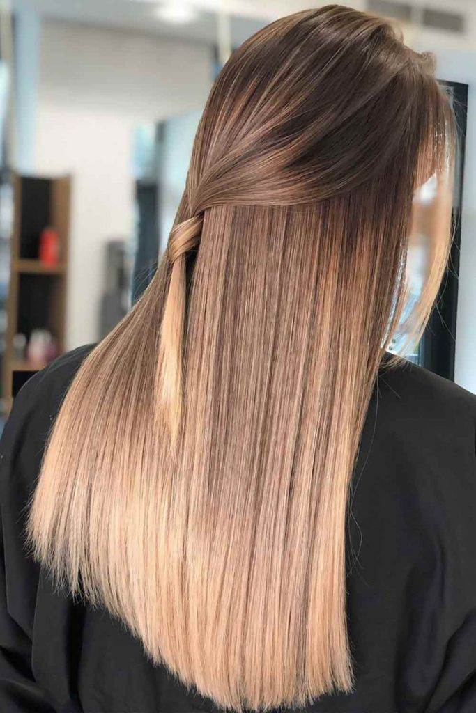 Light Brown Hair Color With Balayage Half-Up #brownhair #lightbrownhair