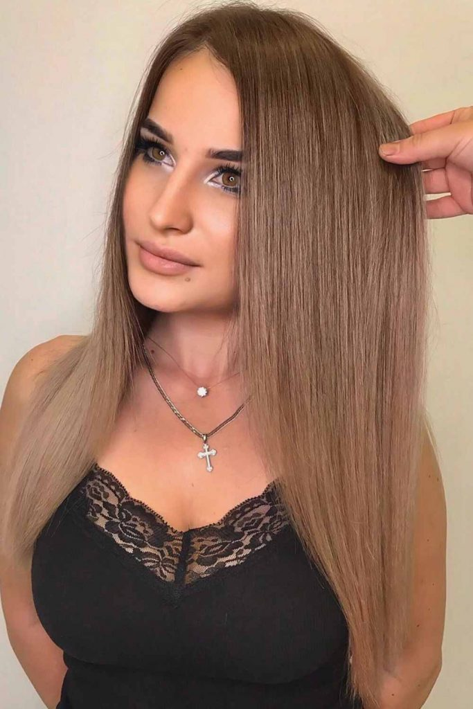 Light Brown Hair Color With Balayage Straight #brownhair #lightbrownhair