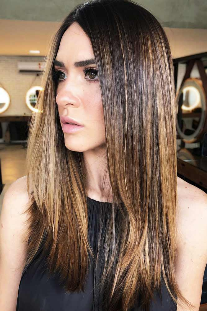 Sunkissed Brunette Sleek #brownhair #highlights