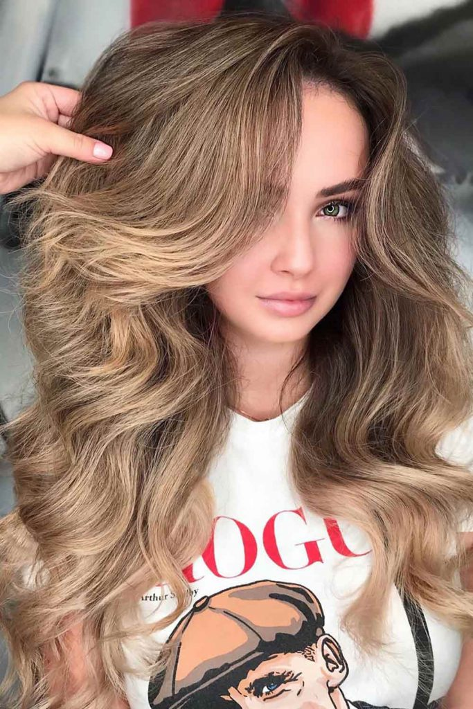 Natural-Looking Light Brown Hair Color With Lowlights #brownhair #lightbrownhair