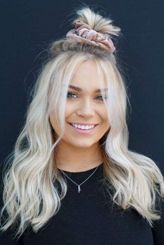Blonde Accessorized Half Up Top Knot #topknothairstyles #hairstyles