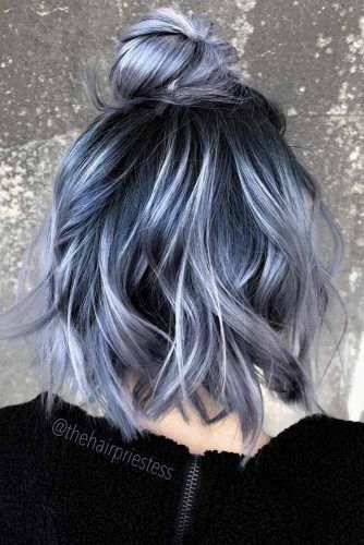 Wavy Colored Half Up Top Knot Hairstyles #topknothairstyles #hairstyles