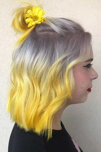 Colored Half Up Top Knot Hairstyles With Accessories #topknothairstyles #hairstyles