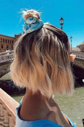 Blonde Half Up Top Knot For Bob Hairstyle #topknothairstyles #hairstyles