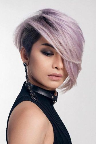 Asymmetrical Lilac Straight Pixie #pixiecut #haircuts