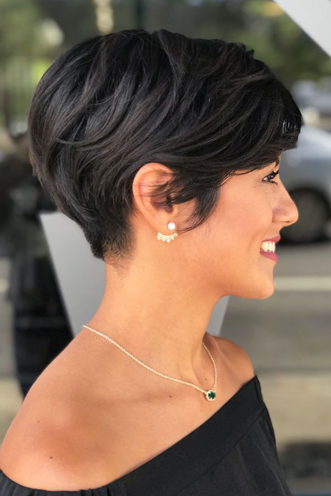 Side Swept Black Pixie #pixiecut #haircuts