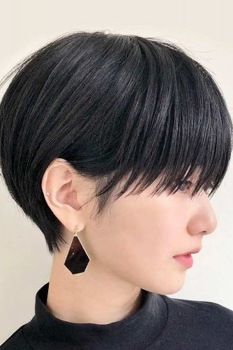 Black Straight Pixie With Blunt Bangs #pixiecut #haircuts