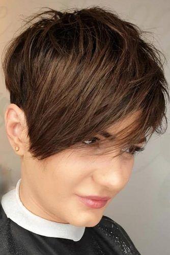 Brown Medium Pixie Hairstyle #pixiecut #haircuts