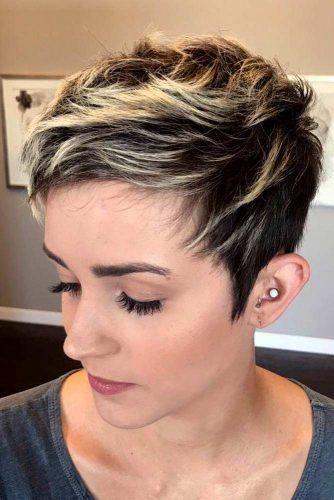 Short Edgy Pixie Hairstyle #pixiecut #haircuts