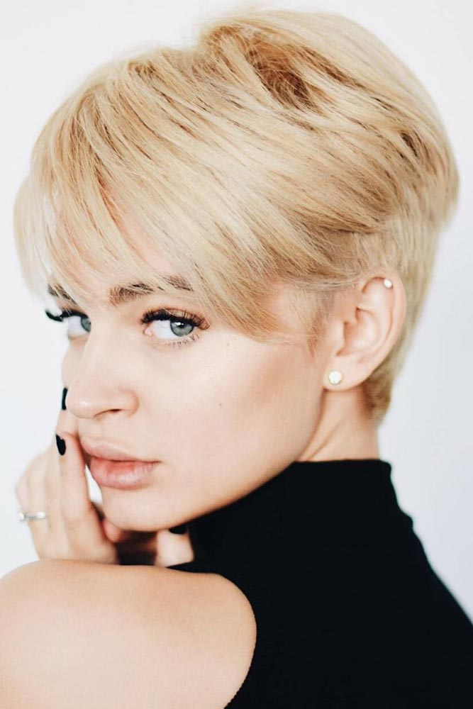 Blonde Pixie with Long Layered Bang