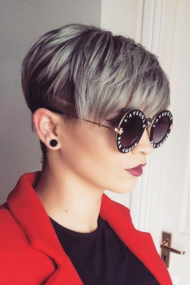 Grey Pixie With Undercut #pixiecut #haircuts