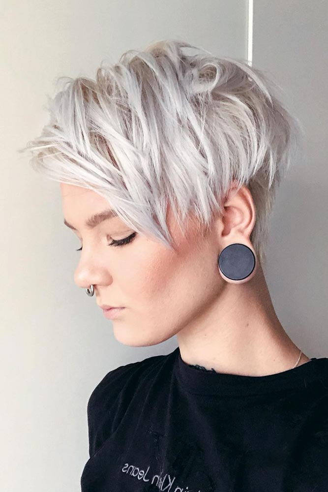 Ice Blonde Side Swept Pixie #pixiecut #haircuts
