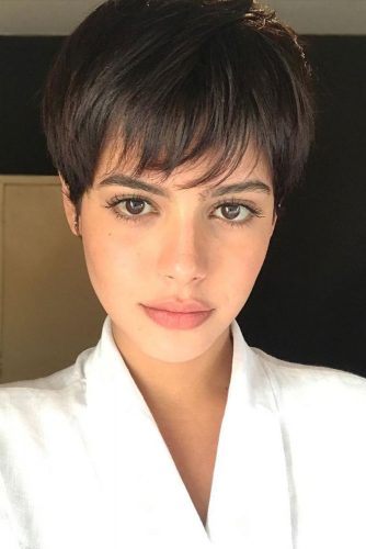 Long Pixie With Thin Fringe  #pixiecut #haircuts #longpixie #brunettehair