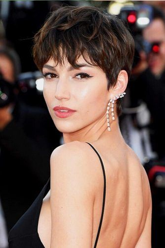 Dark Pixie Hairstyle With Highlights #pixiecut #haircuts