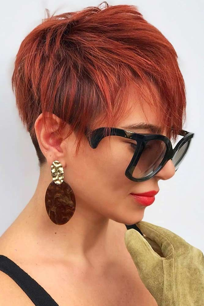 Red Textured Pixie #pixiecut #haircuts