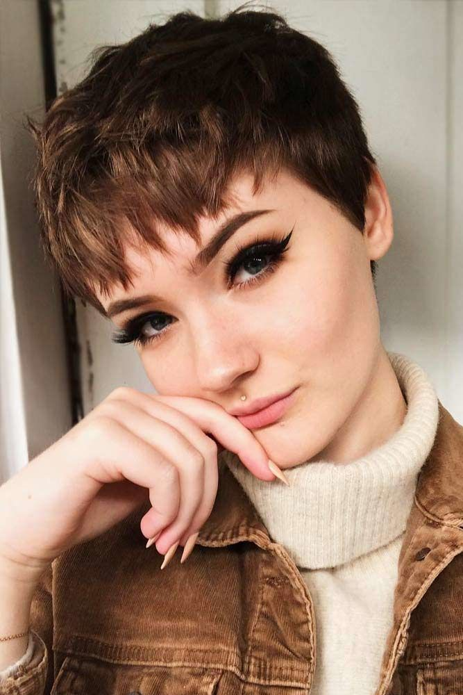 Brown Short Pixie Cuts #pixiecut #haircuts