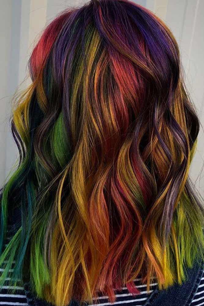 Beach Waves With Rainbow Shining #rainbowhair #highlights