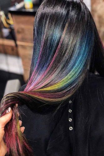 Rainbow Highlights #rainbowhair #brunette #highlights