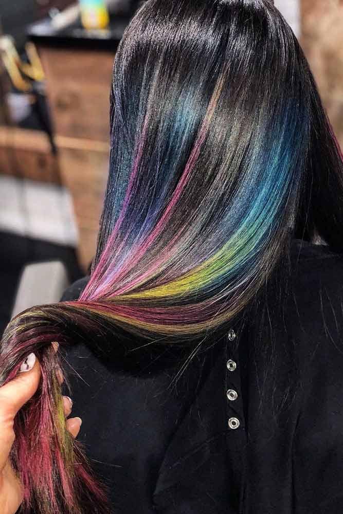 Rainbow Highlights #rainbowhair #brunette #highlights