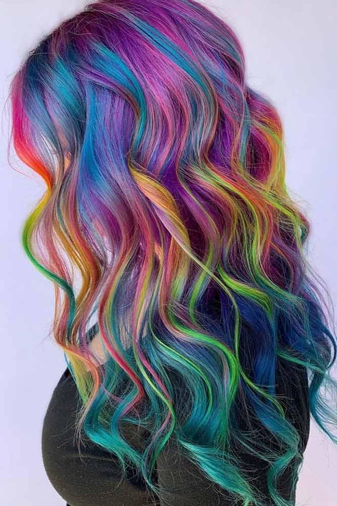 Bright Highlighted Rainbow Hair #rainbowhair #highlights