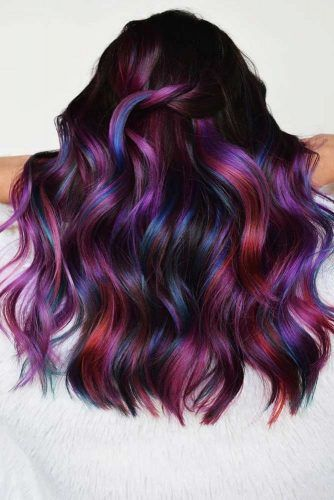 Dark Shades Of Rainbow Hair #rainbowhair #highlights