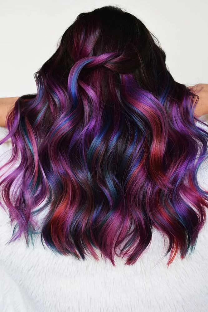 Dark Shades Of Rainbow Hair #rainbowhair #highlights
