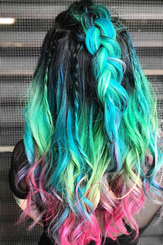 Rainbow Ends For Brunettes #rainbowhair #brunette #ombre