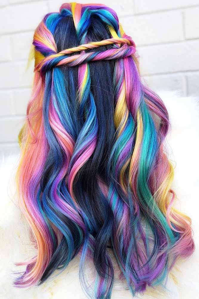 Holographic Rainbow Colored Hair #rainbowhair #highlights