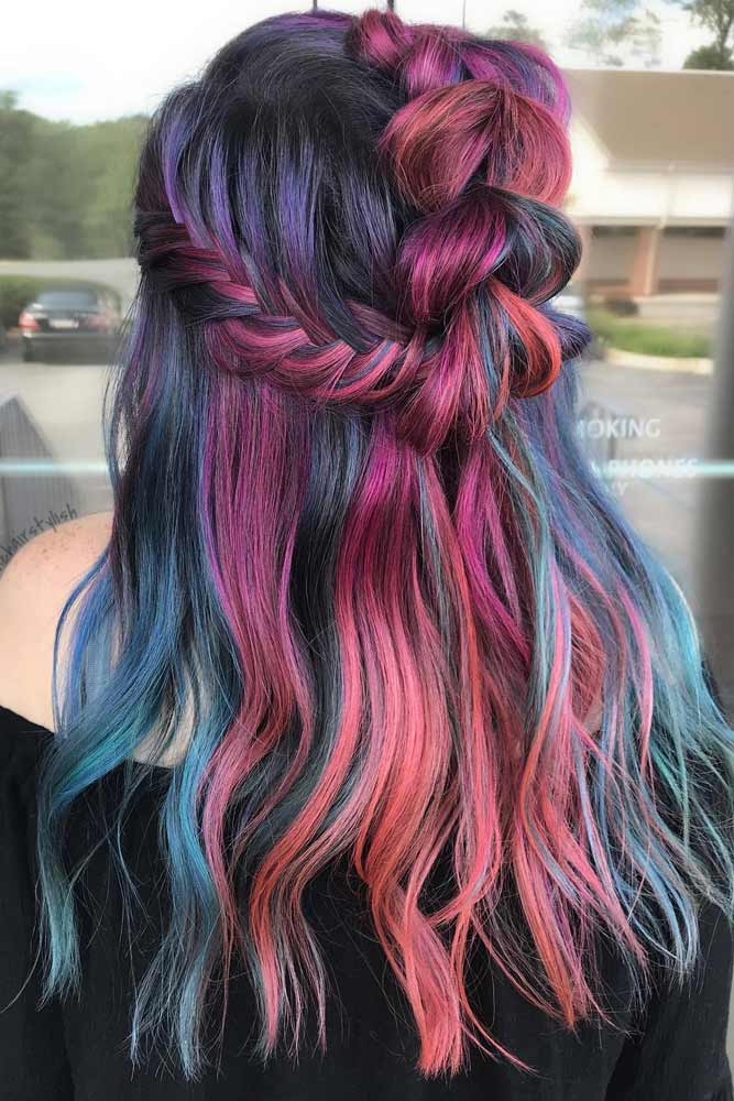 Muted Lavender Rainbow Hair Color