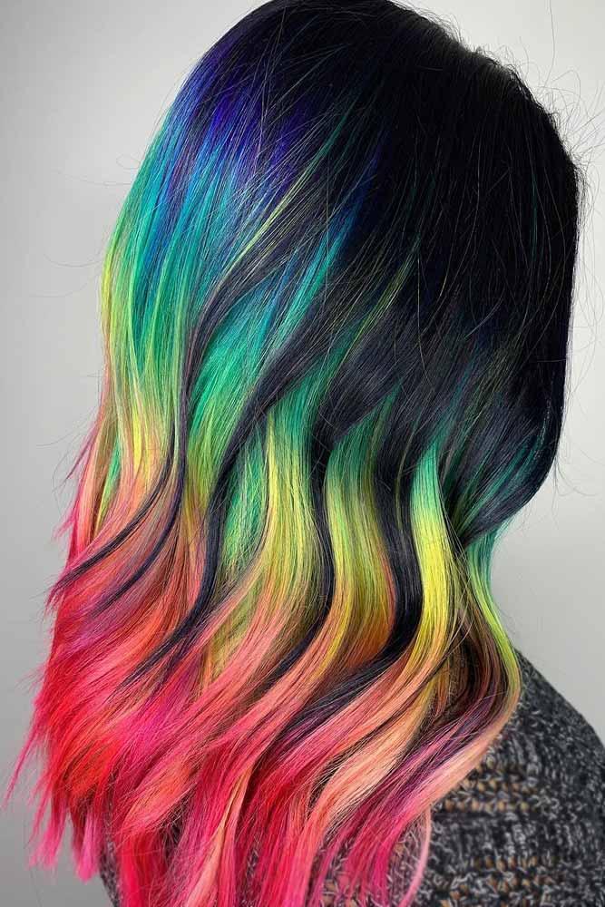 Neon Rainbow Hair Color Vibes