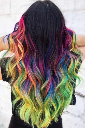 Brunette To Rainbow Hair Ombre #rainbowhair #ombre