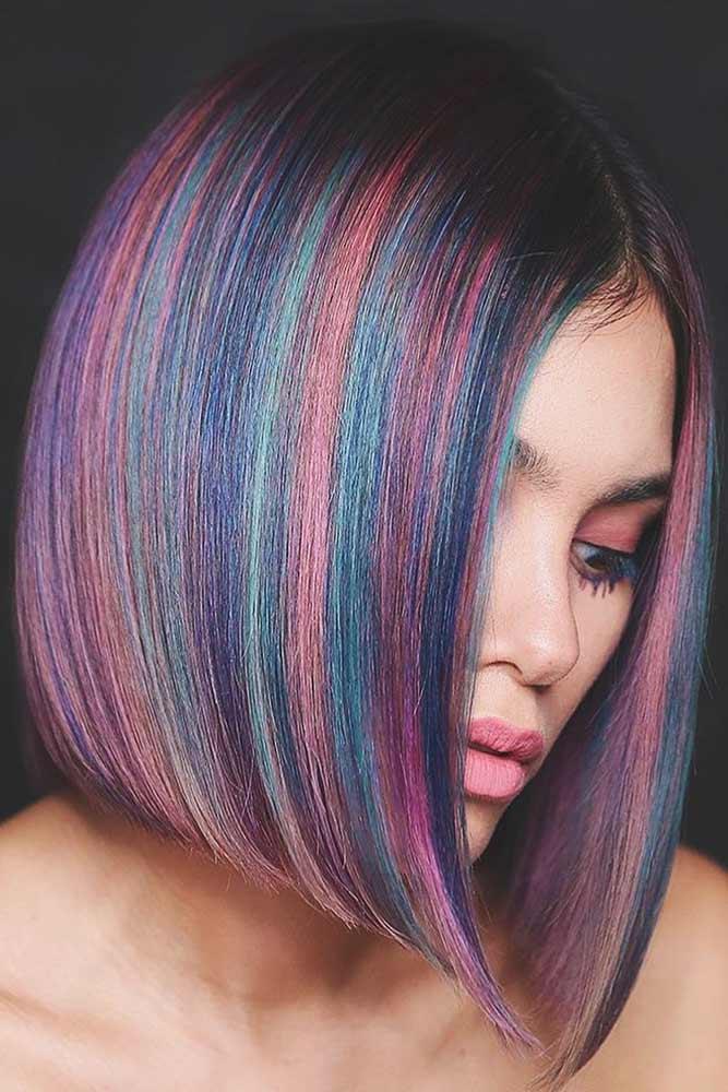 Highlighted Rainbow Coloring #rainbowhair #highlights
