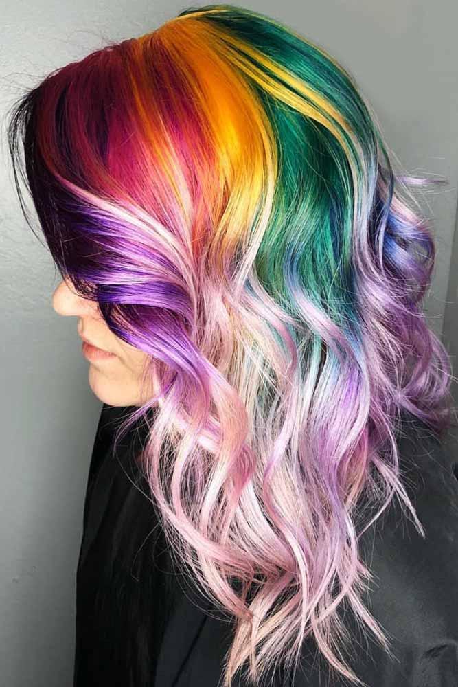 Rainbow Roots Hair #rainbowhair #ombre #highlights