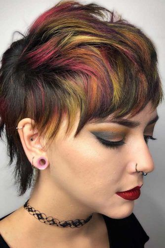 Splash Of Rainbow Hair Combo On Short Hair