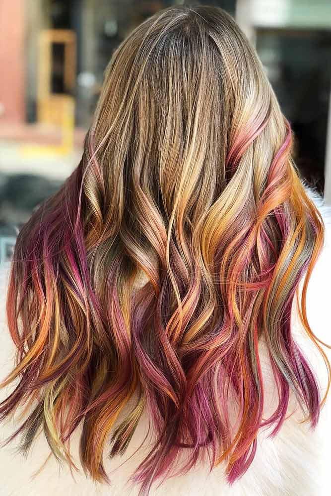Secret Warm Tones Rainbow Hair #rainbowhair #ombre