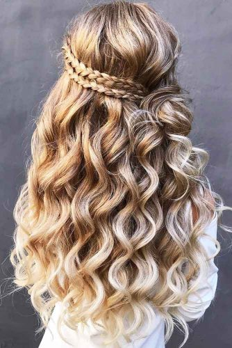 Double Three Strands Braids Half-Up #halfup #braids #wavyhair #knot