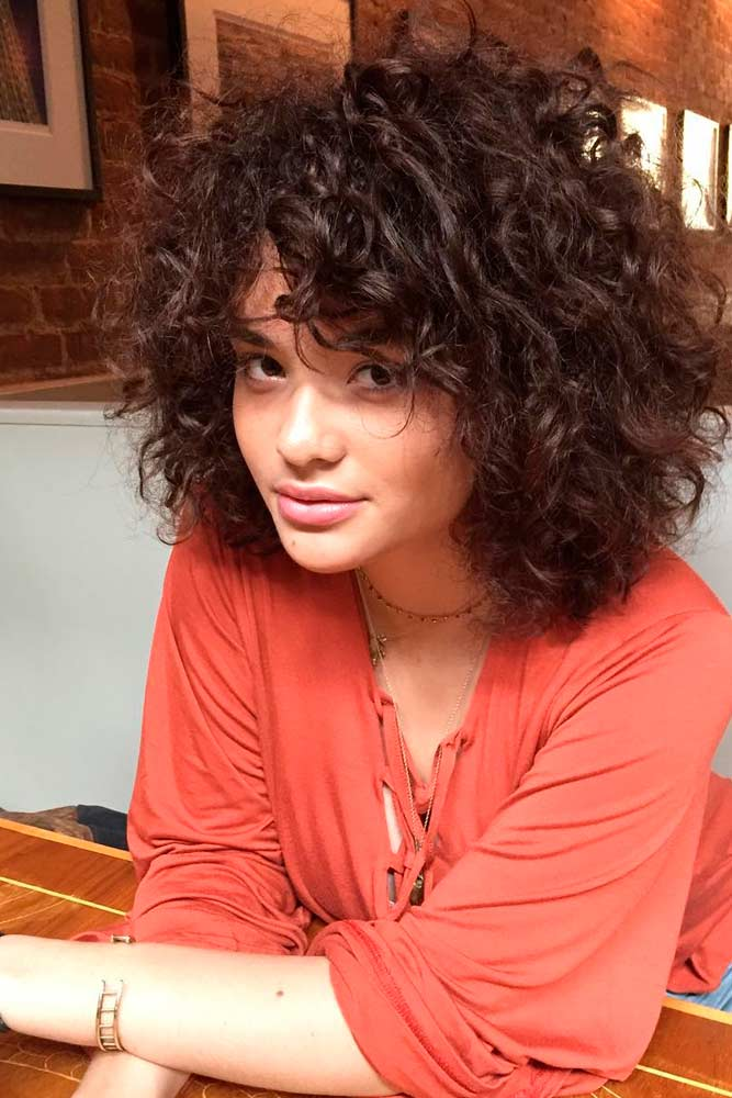 Short Curly Hair with Trendy Bangs