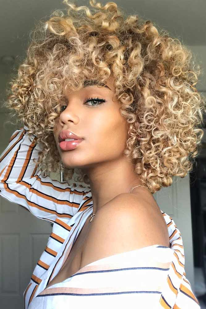 Blonde Curly Bob With Bangs