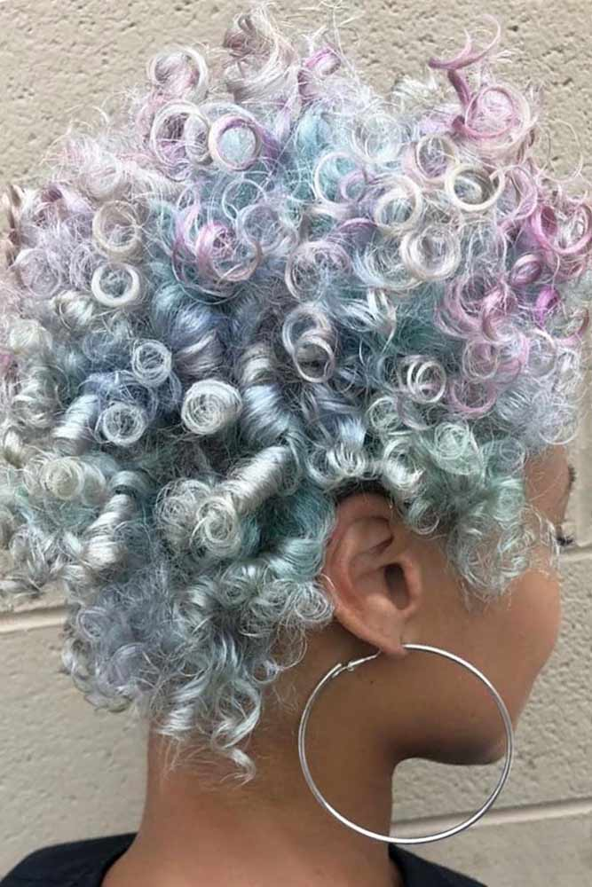 Colorful Curly Pixie #shortcurlyhairstyles #curlyhairstyles #pixiehaircut #hairstyles