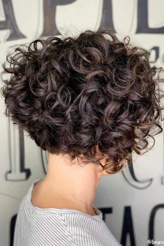 Inverted Brown Bob #shortcurlyhairstyles #curlyhairstyles #bobhaircut #hairstyles