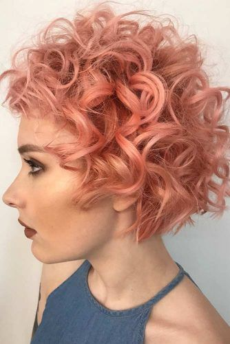 Peach Volume Curls #shortcurlyhairstyles #curlyhairstyles #shorthair #hairstyles