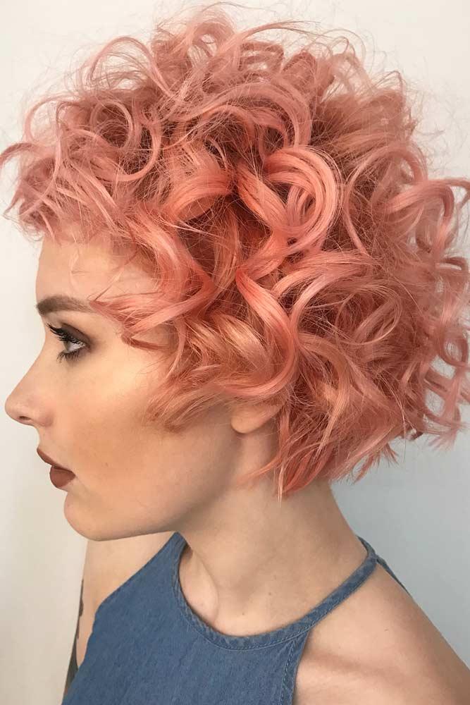 Peach Volume Curls #shortcurlyhairstyles #curlyhairstyles #shorthair #hairstyles